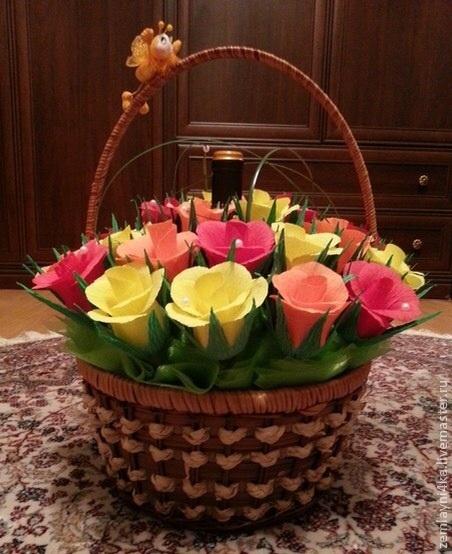 Подарки цветы в корзине своими руками из бумаги, живые тюльпаны букеты