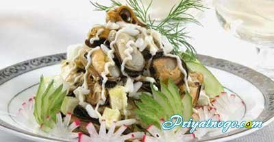 салат из мидий в рассоле рецепт с фото