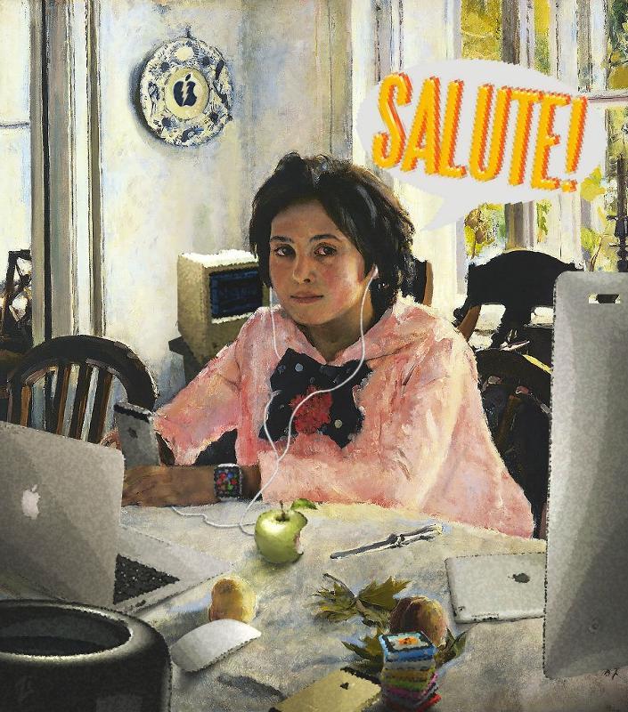 Смешная картинка девочка с персиками
