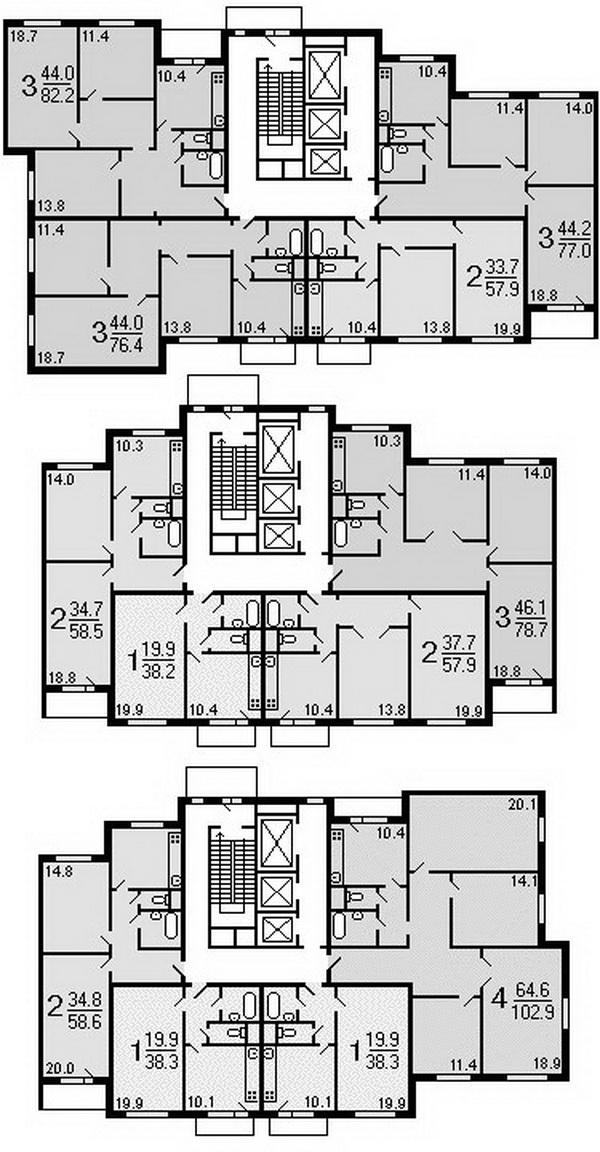Высотные дома копэ, типовые планировки квартир копэ.