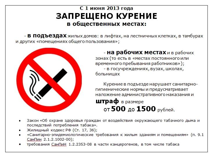 закон запрещающий курение в общественных местах