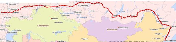 Маршрут поезда 002 москва владивосток на карте