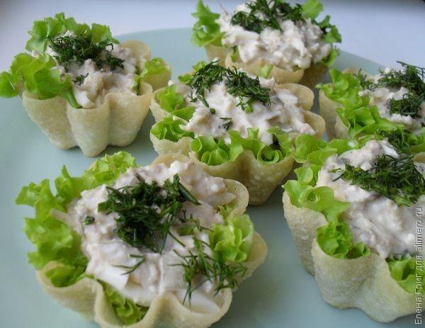 Тарталетки с тунцом консервированным рецепт с фото