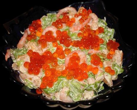 Фоторецепт салат с икрой