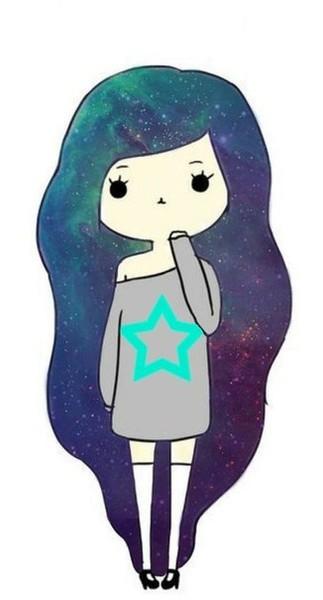 картинки девочек с волосами космос