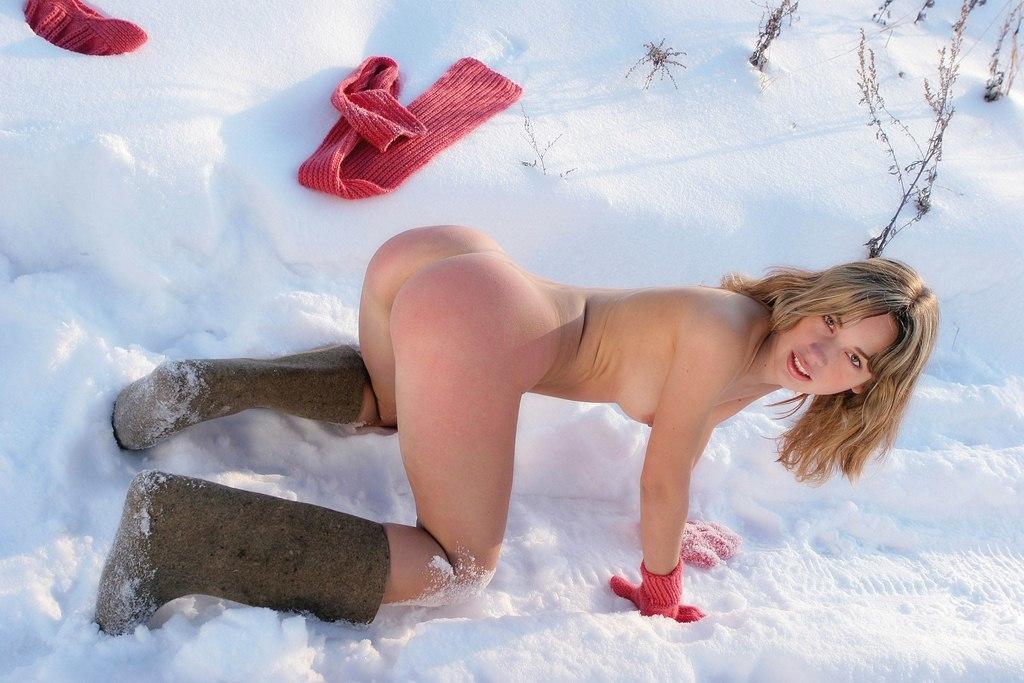 порно на снегу