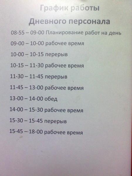 расписание рабочего дня образец
