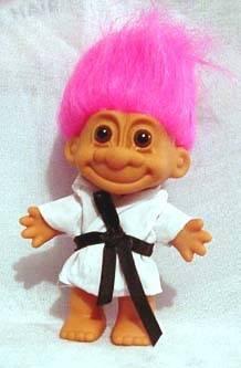 Игрушка тролль с цветными волосами