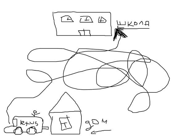 Как нарисовать схему дороги от дома до школы.
