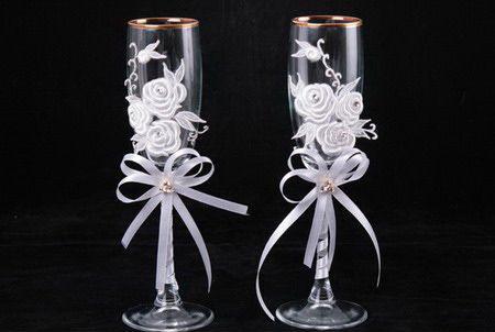 Украшение свадебных бокалов купить