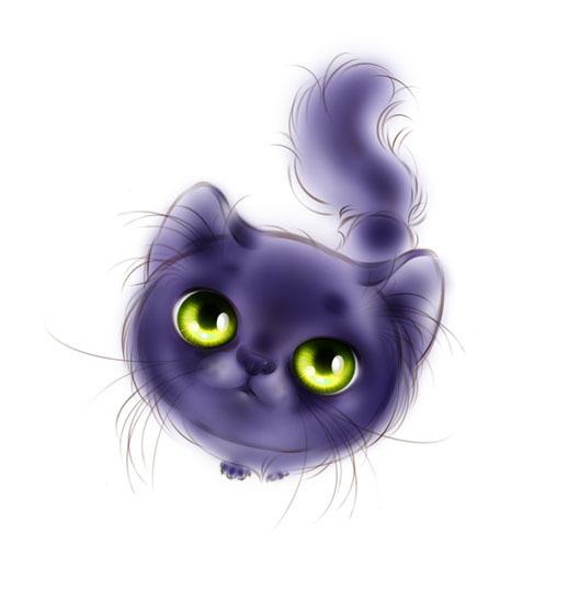 двумя котята с большими глазами картинки нарисованные состоят