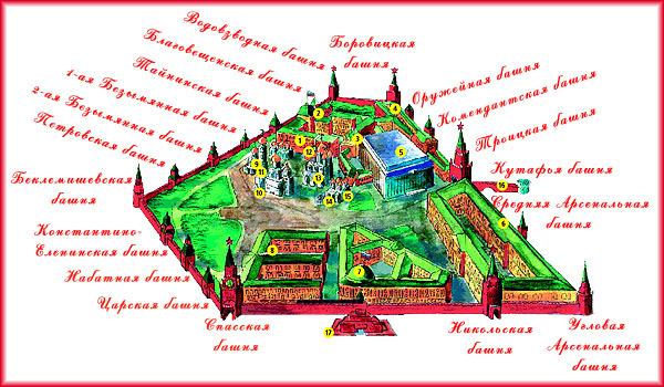 Карта Московского Кремля :