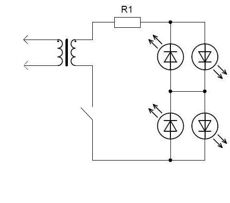 запитать 4 LED светодиода