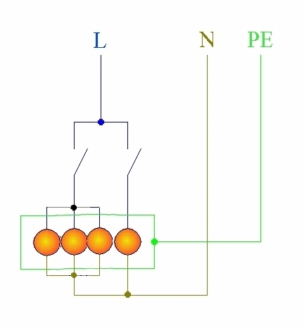 вот схема 4х рожковой люстры