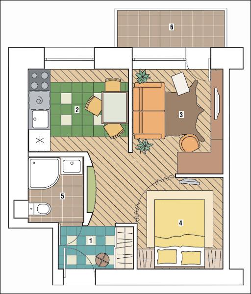 Планировка комнаты с окном и балконом..