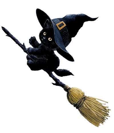 Картинки ведьма на метле с котом, открытки золотую