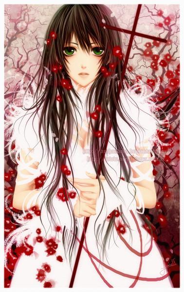 Девушка с зелеными глазами и каштановыми волосами аниме