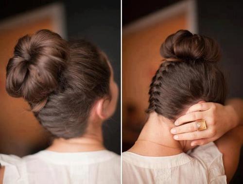 прическа коса и пучок фото