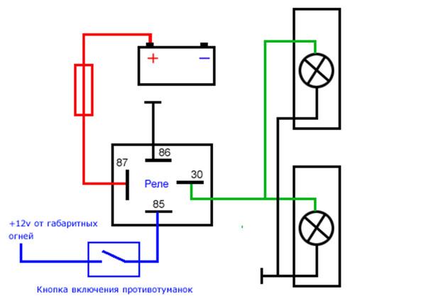 4-х контактное реле схема