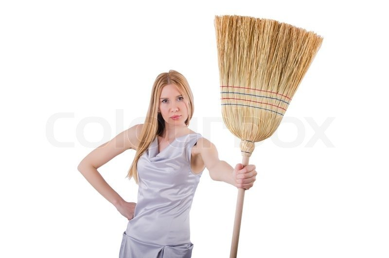 Картинка женщина с веником