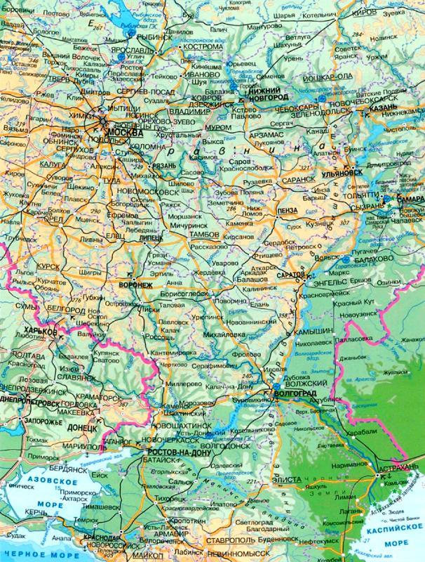 Волга река на карте россии физической