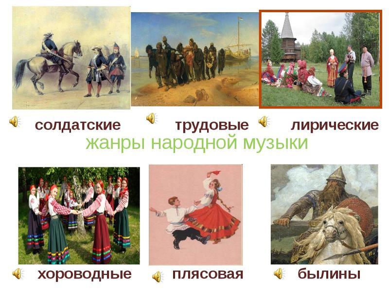 рисунки жанров народных песен