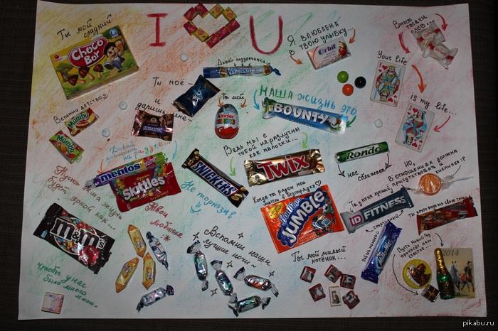 Открытки с соками и шоколадками