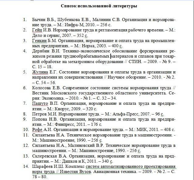Список использованной литературы к курсовому проекту 7170