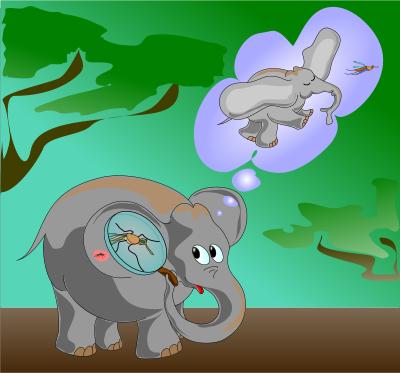 Открытка, картинка с мухой я слон