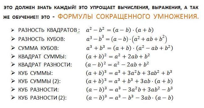 формулы алгебра 7 класс Как выбрать