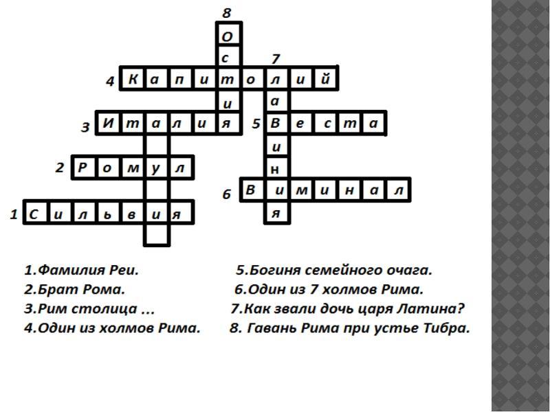 Ответы mail.ru кроссворд по истории 6 класс