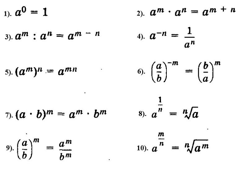 степеней алгебре свойства шпаргалки по