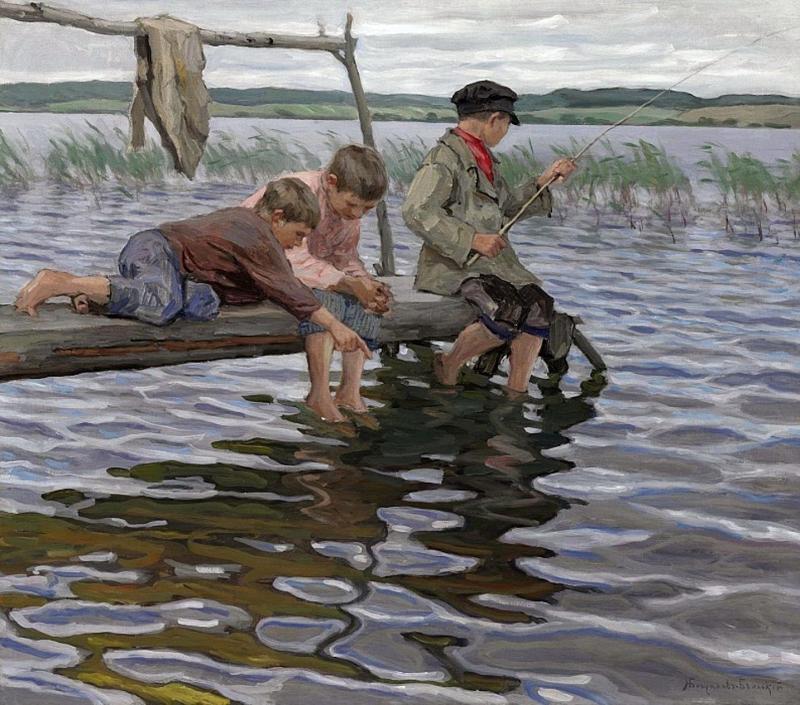 Рисунок мальчик на берегу реки