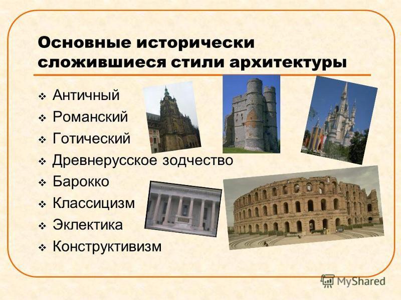 какие стили бывают архитектуры