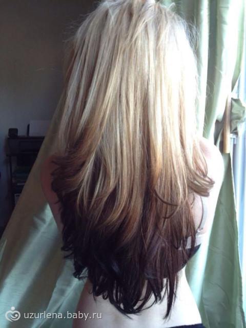 Волосы тёмный верх светлый низ