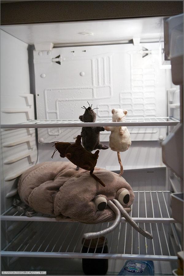 Картинка холодильник с мышью